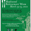 Upcoming Event – Maplewood Restaurant Week – March 19-25 2012